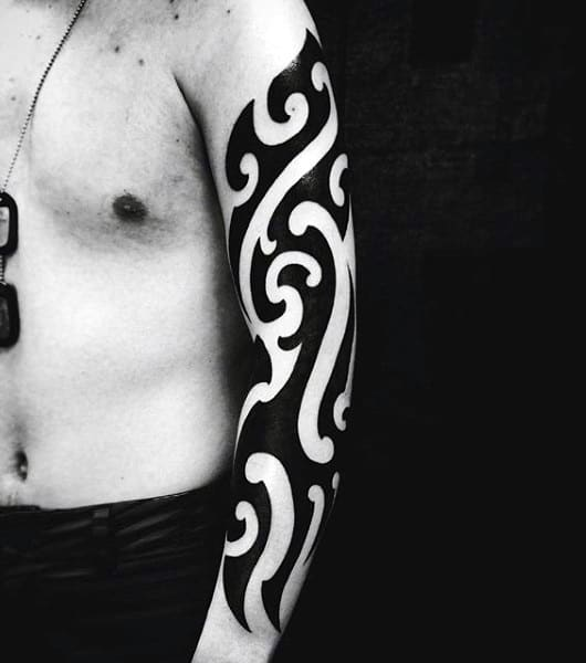 Sleeve Tribal Black Ink Guys Tattoo Designs