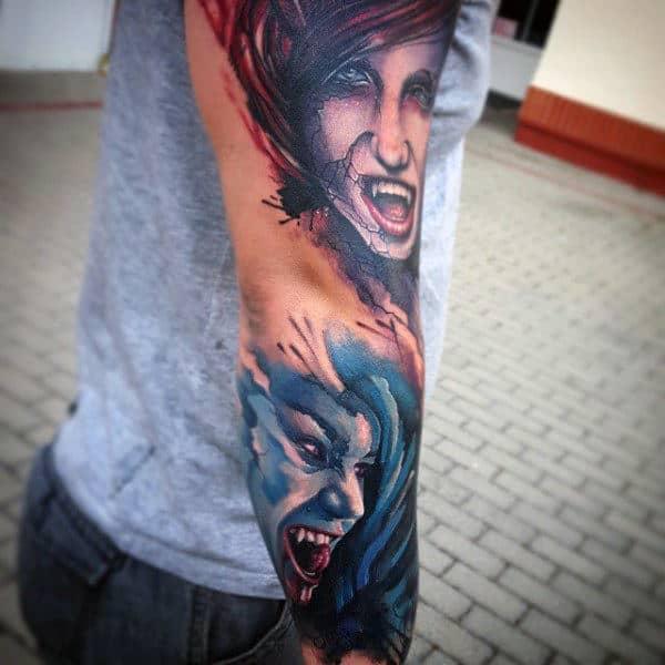 Sleeve Vampire Symbol Tattoo For Guys