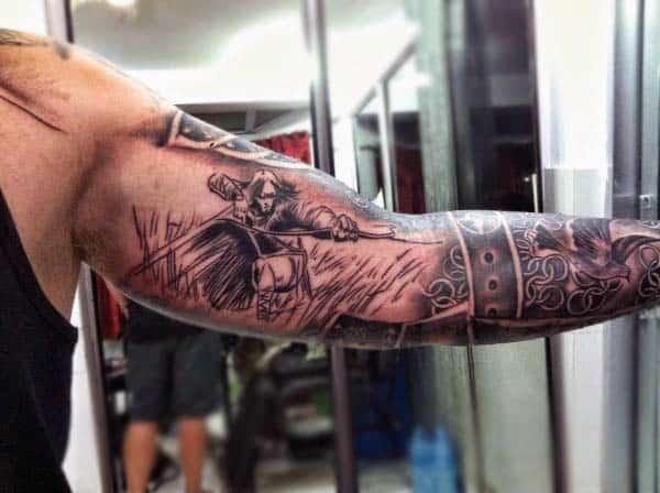 Sleeve Warrior Battle Archery Mens Tattoos