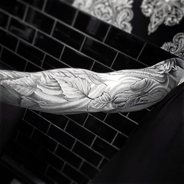 Sleeve Wind Leaf Man Tattoo For Males