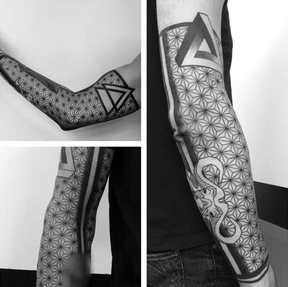 Sleeved Penrose Triangle Tattoo With Geometric Patterns On Arms For Men