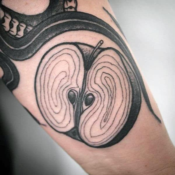 Sliced Apple Mens Forearm Tattoo