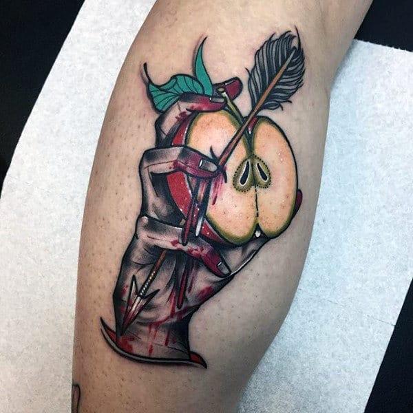 Sliced Apple With Arrow And Hand Mens Leg Calf Tattoos