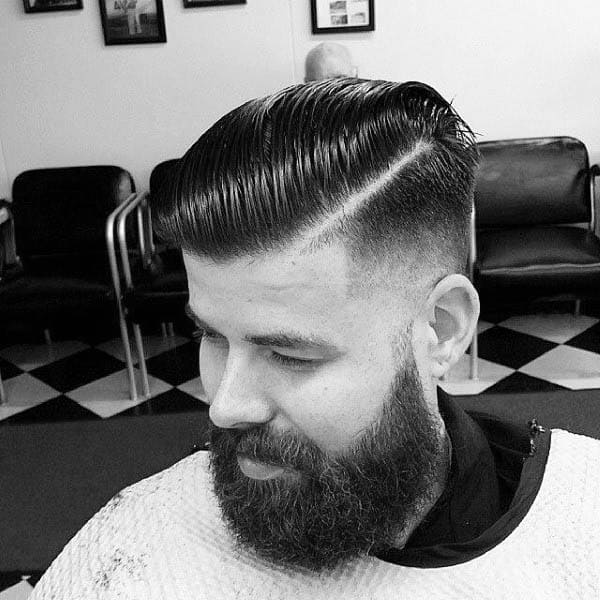 Slicked Back Hard Part Mens Hair Style