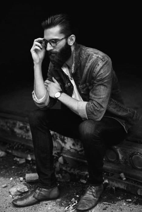 Slicked Back Hipster Hair For Guys With Beard