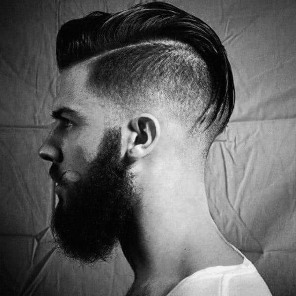 Slicked Back Mens Medium Length Undercut Hairstyle Ideas