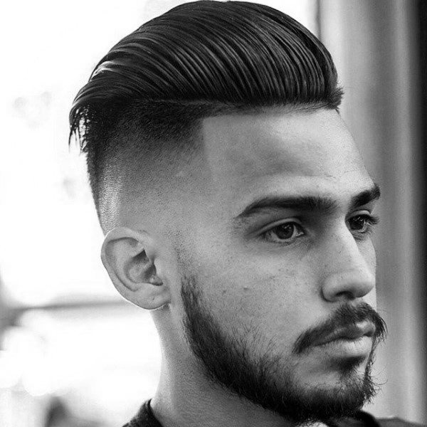 Slicked Back Pompadour Mens Skin Fade Hair Style Medium
