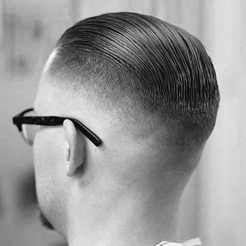 Slicked Back Short Fade Mens Haircuts