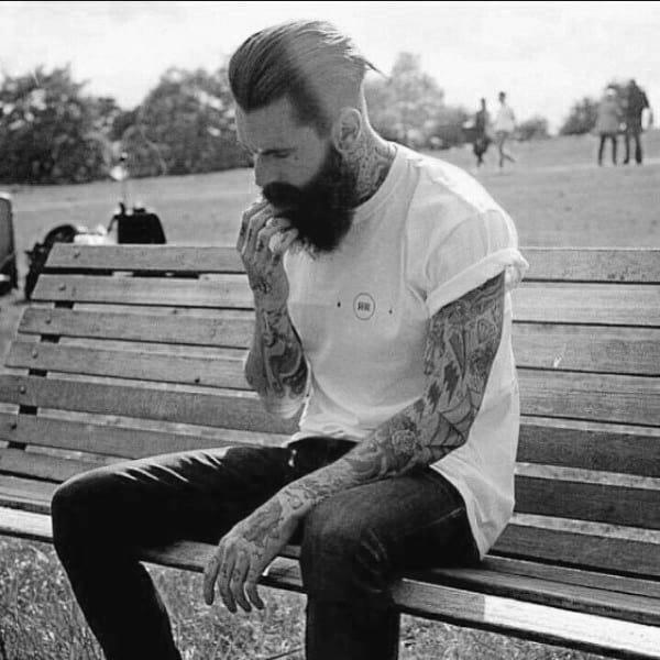 Slicked Back With Beard Medium Length Hair For Men