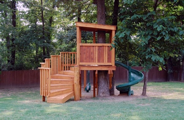 Slide Kids Treehouse Ideas - Top 60 Best Treehouse Ideas - Wooden Wonder Designs
