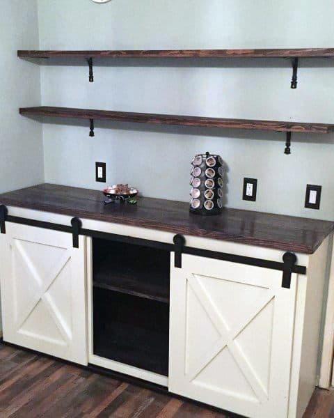 Sliding Barn Door White Cabinets Coffee Bar Ideas