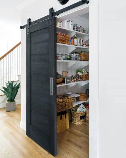Sliding Black Luxury Kitchen Pantry Door Ideas