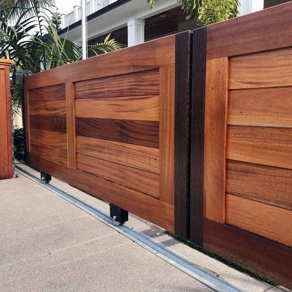 Sliding Driveway Wooden Gate Exterior Ideas