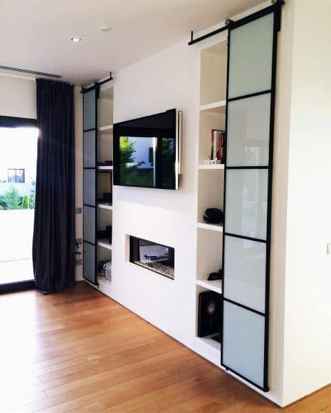 Sliding Gl Doors Bookcase Impressive Tv Wall Ideas