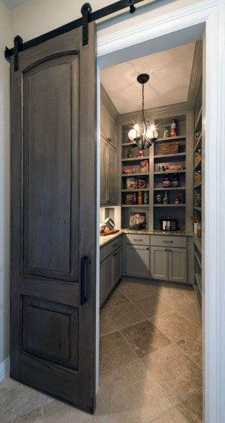 Sliding Wood Kitchen Pantry Door Design Ideas