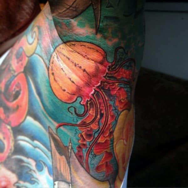 Slimy Orange Sea Creature Tattoo On Armpits Guys