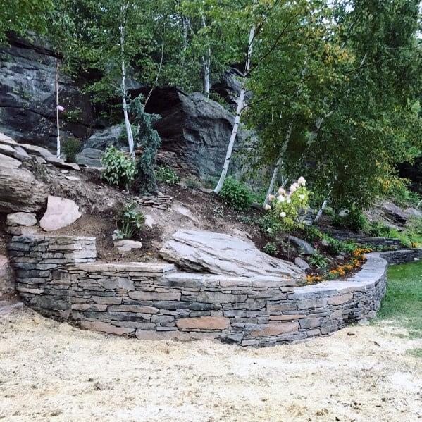 Slope Landscape Ideas Stacked Stone Edging
