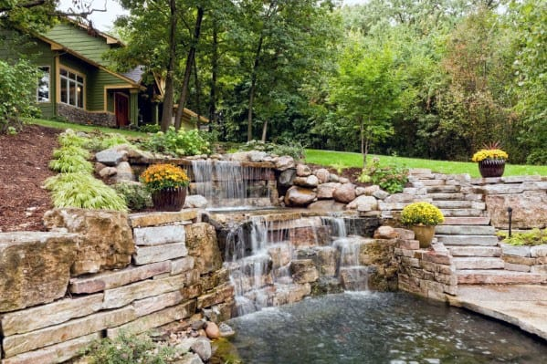 Slope Landscaping Pool Waterfall