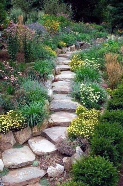 Slope Stairs Landscaping Exterior Ideas Stone Walkway