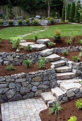 Slope Stairs Stone Walkway Idea Inspiration