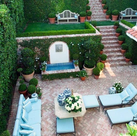 Sloped Backyard Brick Patio Ideas