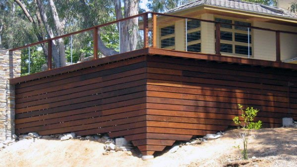 Sloped Backyard Deck Skirting Modern Ipe Wood Boards