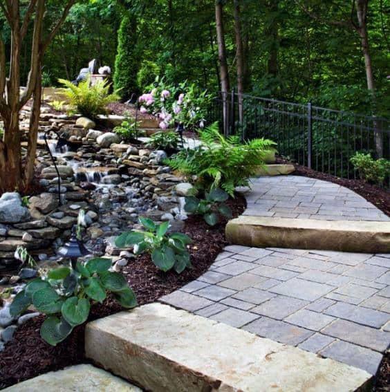 Sloped Backyard Design Ideas Paver Walkway