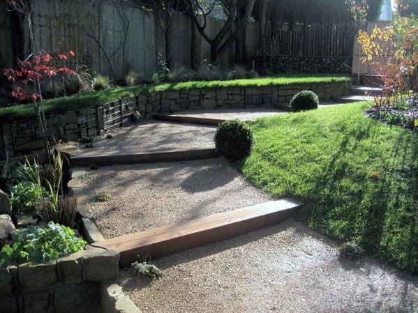 Sloped Backyard Gravel Walkway Design