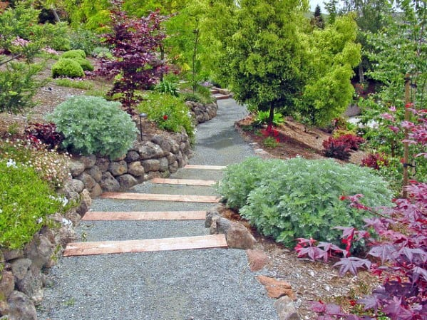 Sloped Backyard Magnificent Gravel Walkway Design Ideas