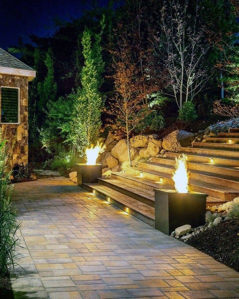 Sloped Backyard Steps Home Paver Walkway Ideas