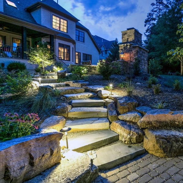 Sloped Backyard Walkway Exterior Ideas For Landscape Lighting