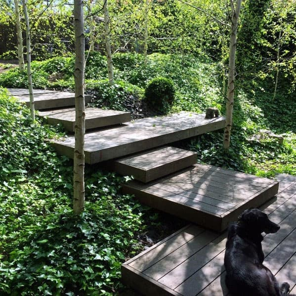 Sloped Backyard Wood Steps Ideas Floating Deck