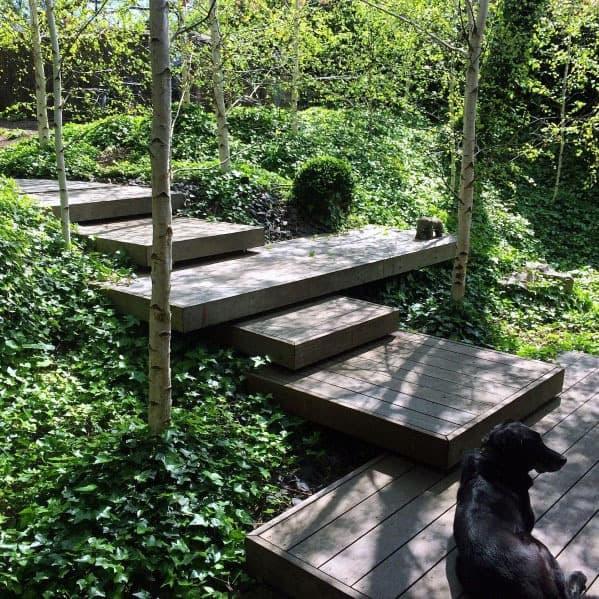 Sloped Backyard Wood Steps Ideas Floating Deck