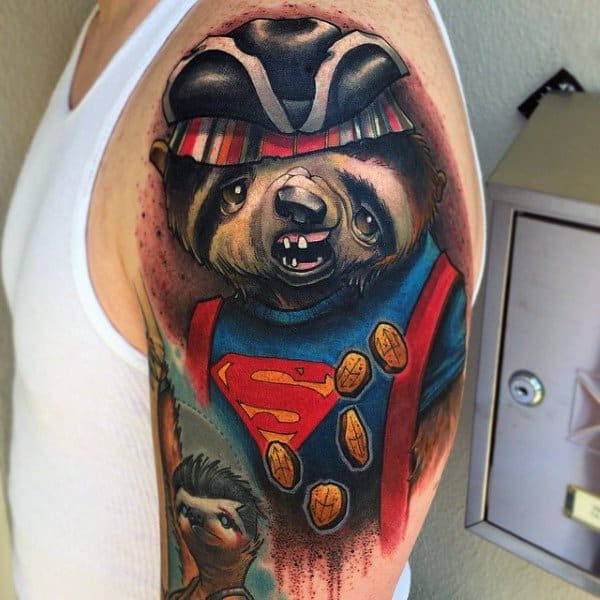 Sloth Half Sleeve Superman And Goonies Themed Tattoos For Men