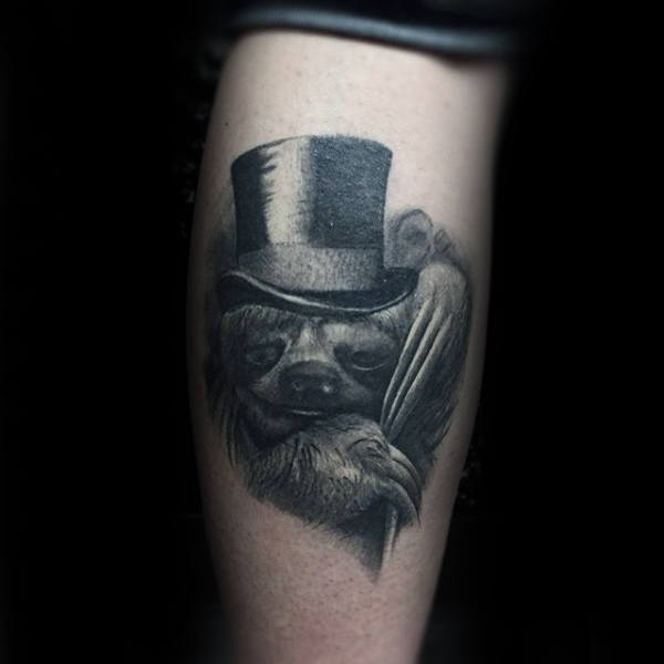 Sloth With A Top Hat Realistic Mens Leg Calf Tattoos