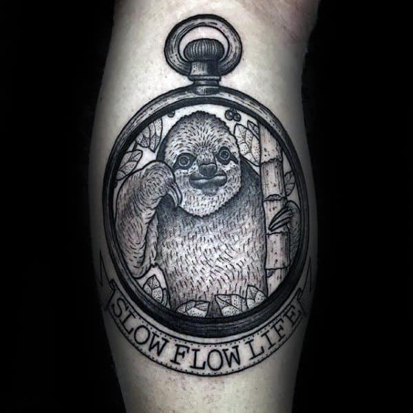Slow Flow Life Mens Pocket Watch Sloth Tattoos On Leg Calf