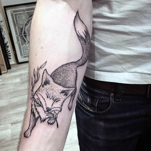 Sly Fox With Twig Tattoo Males Forearms