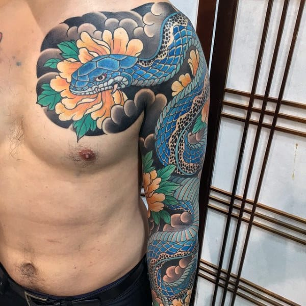 Sly Serpent Japanese Sleeve Tattoo Male