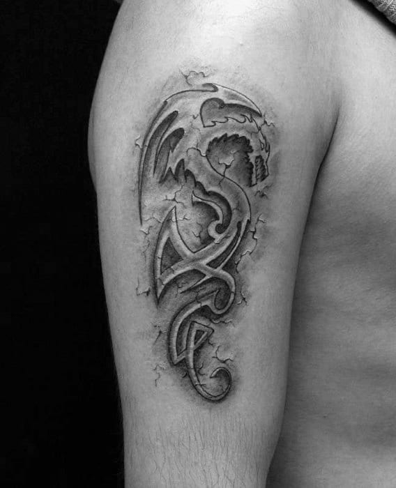Small 3d Dragon Tribal Mens Arm Tattoo Ideas
