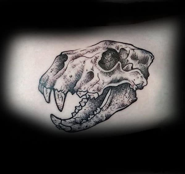 Small 3d Lion Animal Skull Tattoos For Guys On Arm