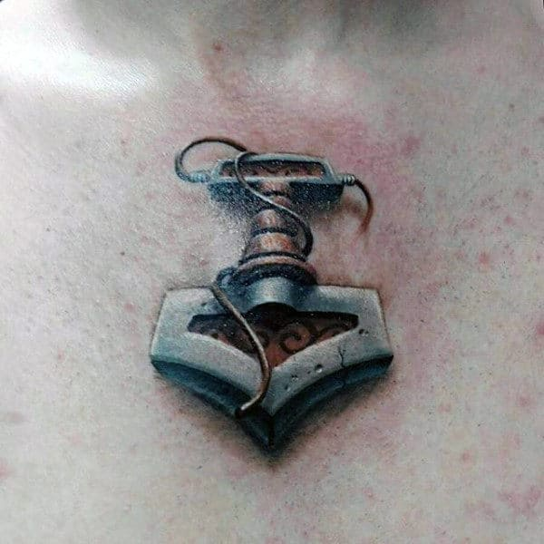 Small 3d Mens Mjolnir Tattoo Design Ideas On Upper Chest