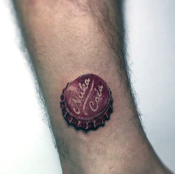 Small 3d Nuka Cola Botle Cap Lower Mens Tattoo Ideas With Fallout Design