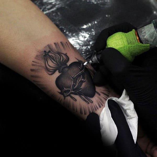 Small 3d Sacred Heart Christan Guys Sacred Heart Inner Forearm Tattoos
