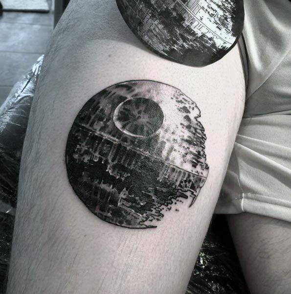 Small 3d Thigh Death Star Tattoos For Gentlemen
