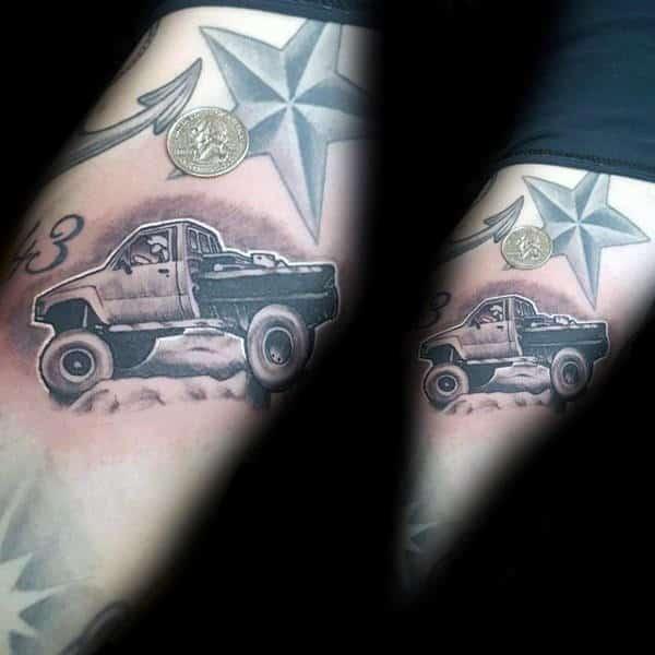 Small 4x4 Truck Mens Arm Tattoo