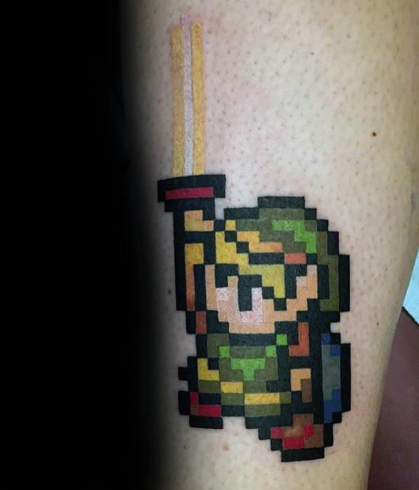 Small 8 Bit Leg Guys Zelda Tattoo Ideas