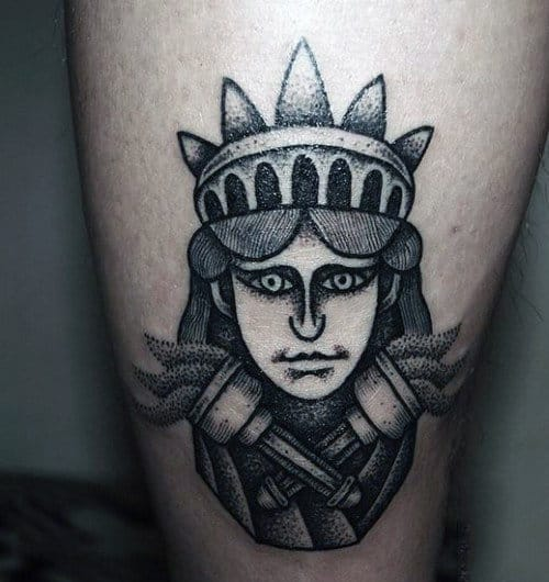 Small Abstract Mens Statue Of Liberty Tattoo