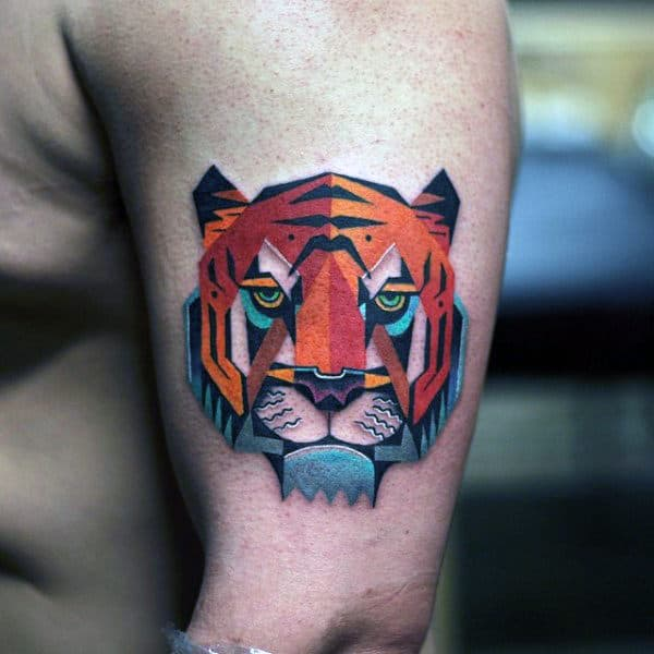 Small Amazing Tiger Mens Arm Tattoo