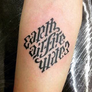 Small Ambigram Mens Tattoo Designs