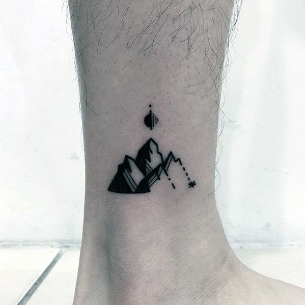 Small Ankle Mountain Male Small Nature Tattoo Inspiration